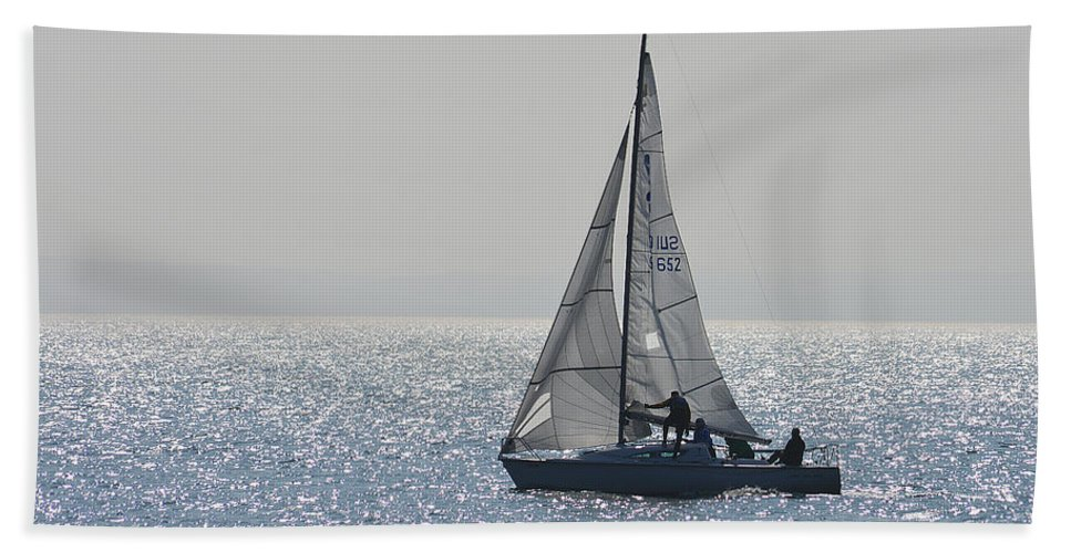 Lake Hand Towel featuring the photograph Sailing Free by Felicia Tica