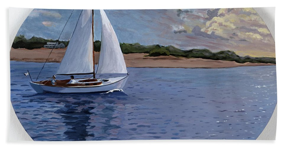 Original Hand Towel featuring the painting Sailing Homeward Bound by Stella Sherman
