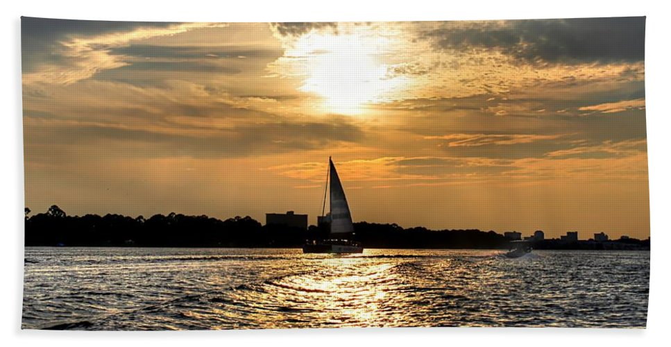 Sunset Bath Sheet featuring the photograph Sailing Into The Sunset by Debra Forand