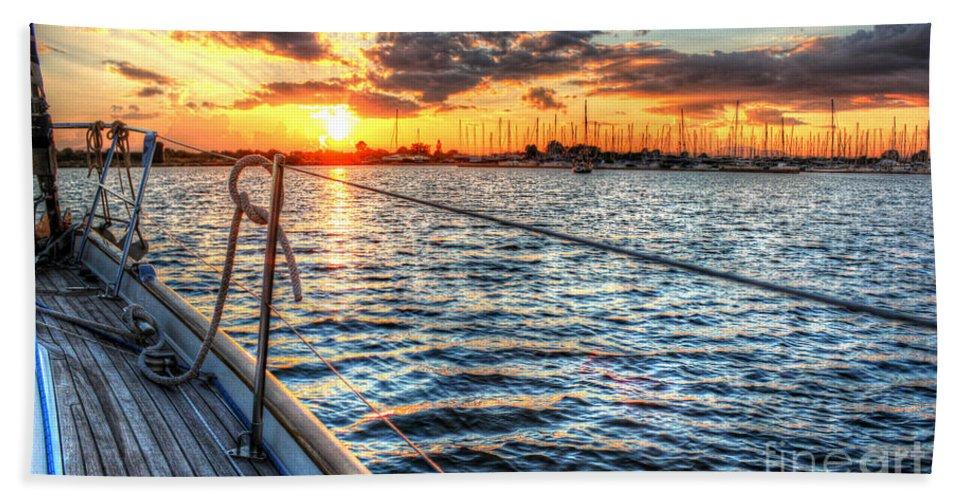 Sail Bath Sheet featuring the photograph Sailing Into The Sunset by Linda Arnado