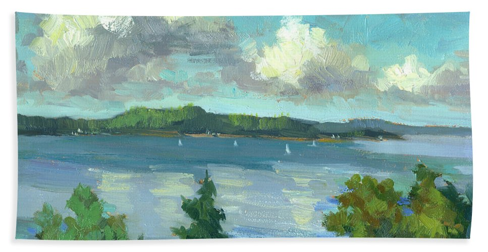 Sailing On Puget Sound Hand Towel featuring the painting Sailing On Puget Sound by Diane McClary