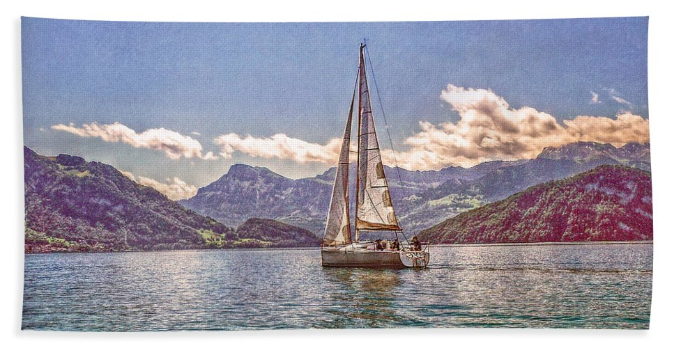 Switzerland Hand Towel featuring the photograph Sailing On The Lake by Hanny Heim