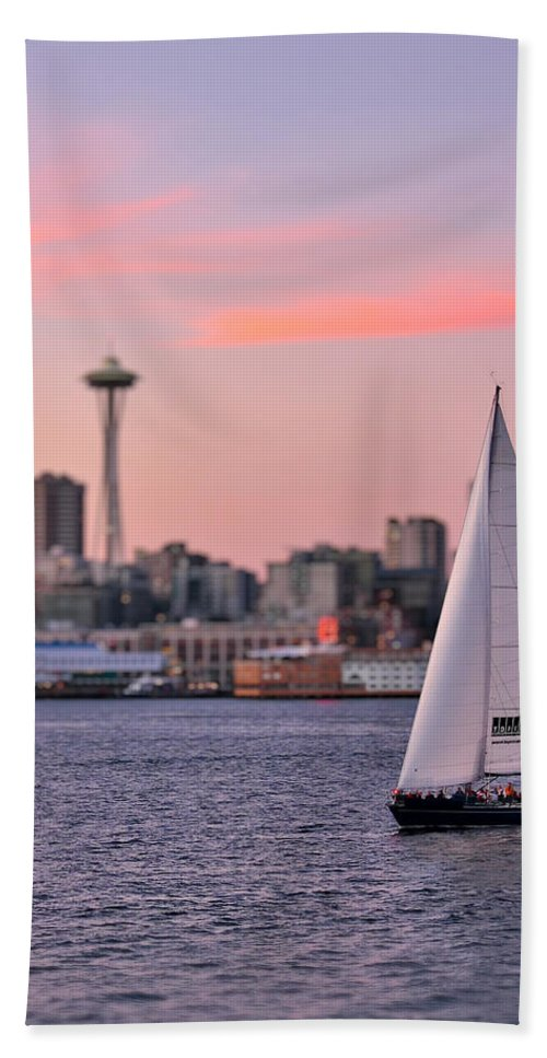 3scape Photos Hand Towel featuring the photograph Sailing Puget Sound by Adam Romanowicz