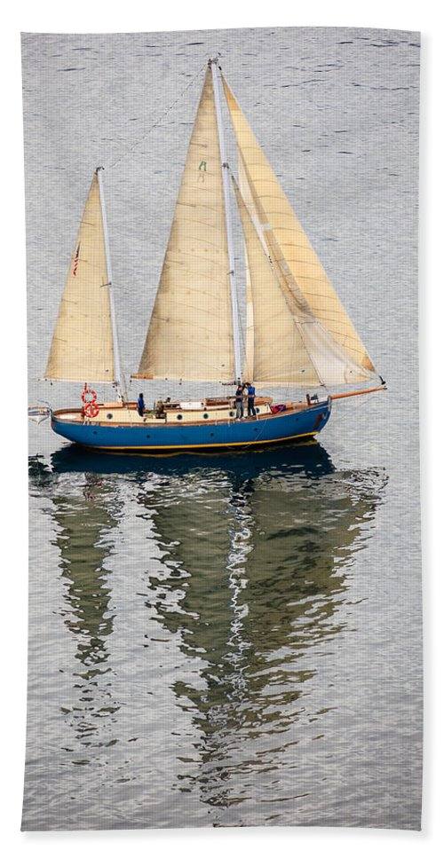 Sailboat Hand Towel featuring the photograph Sailing Puget Sound by Mike Penney