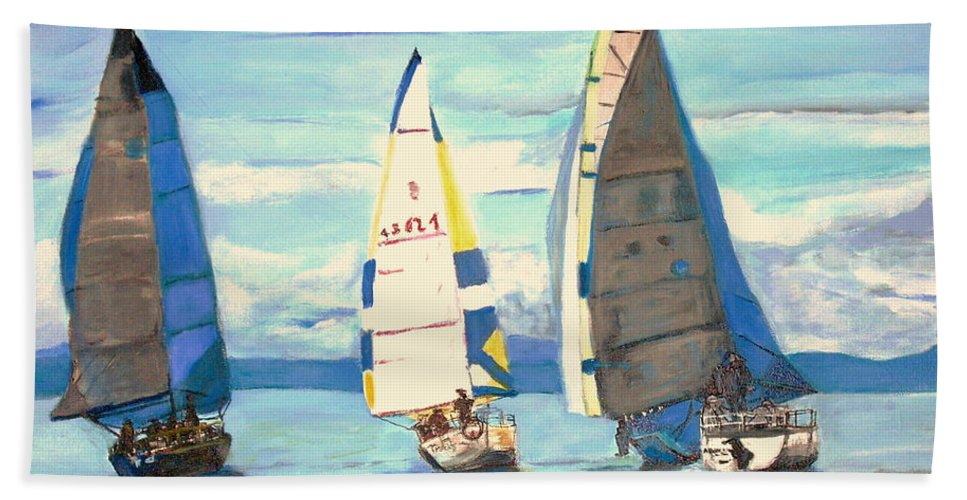 Seascape Hand Towel featuring the painting Sailing Regatta At Port Hardy by Teresa Dominici