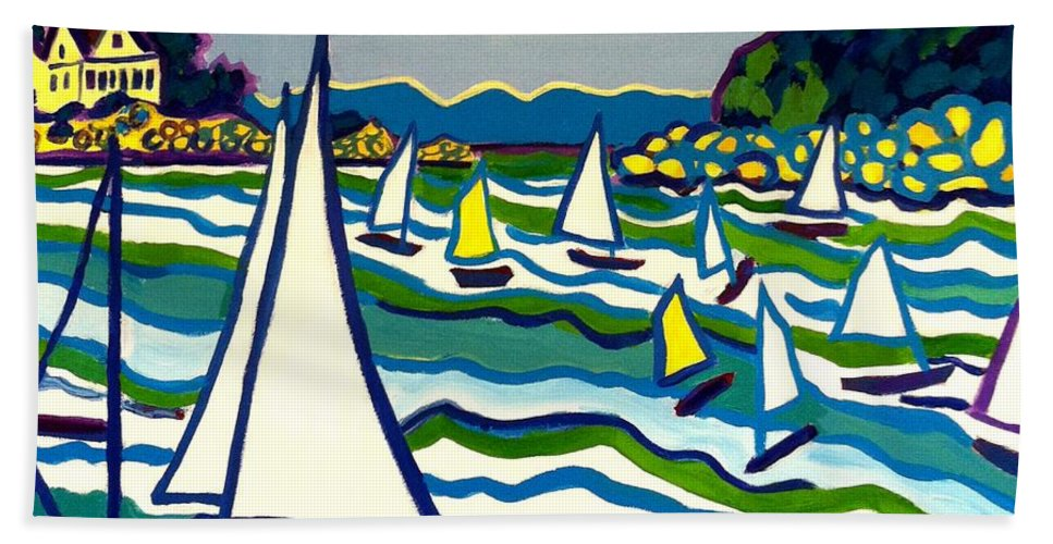Landscape Hand Towel featuring the painting Sailing School Manchester by-the-sea by Debra Bretton Robinson