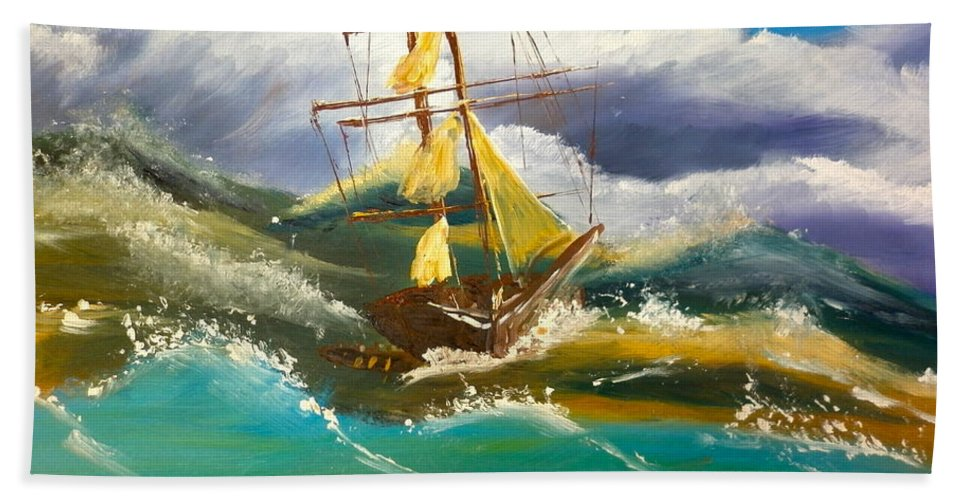 Nature Hand Towel featuring the painting Sailing Ship In A Storm by Pamela Meredith
