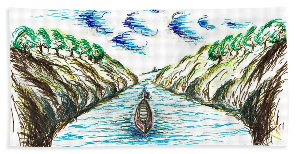 Teresa White Bath Sheet featuring the drawing Sailing Through by Teresa White