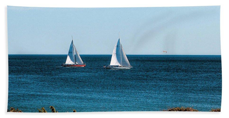 Ocean Scene Bath Sheet featuring the photograph Sailing Watch Hill Ri by Tom Prendergast