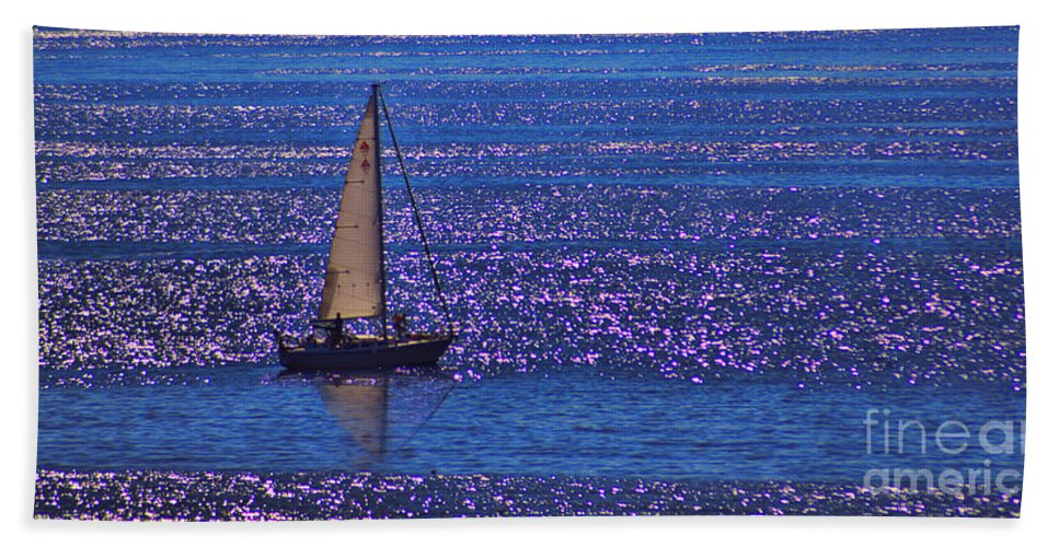 Sunset Hand Towel featuring the photograph Sailing by Tommy Anderson