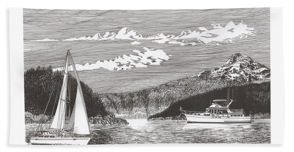 Yacht Portraits Bath Sheet featuring the drawing Sailing Mount Hood Oregon by Jack Pumphrey