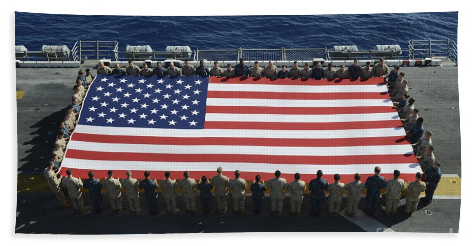 Horizontal Hand Towel featuring the photograph Sailors And Marines Display by Stocktrek Images