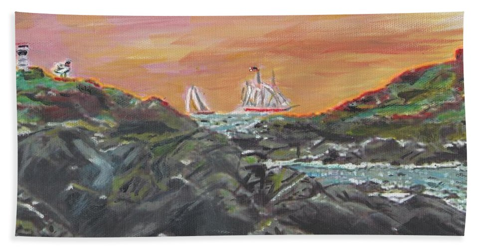 Nature Bath Sheet featuring the painting Sailor's Delight by Cliff Wilson
