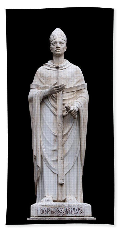 Black Background Hand Towel featuring the photograph Saint Ambrose by Fabrizio Troiani