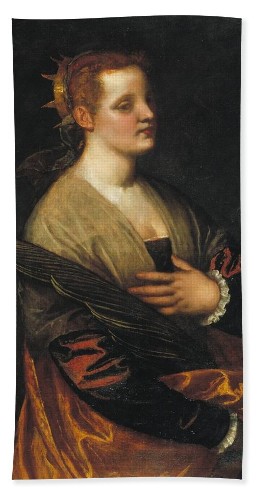 1580-1585 Hand Towel featuring the painting Saint Catherine by Paolo Veronese
