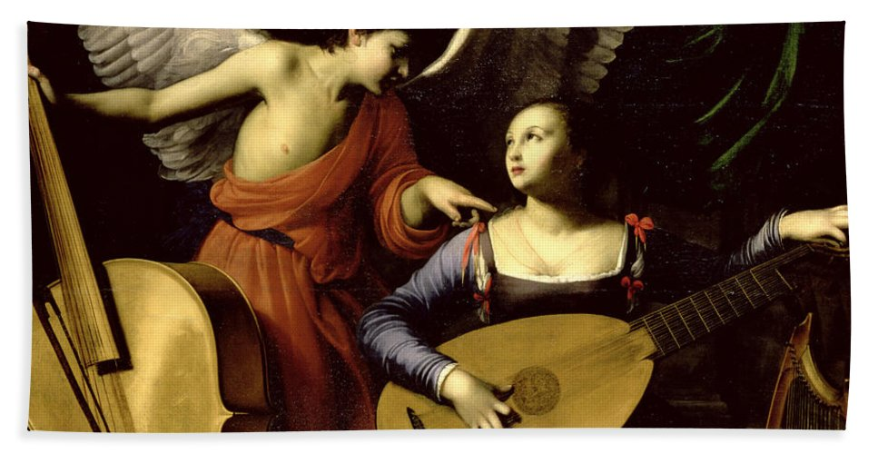 St Hand Towel featuring the painting Saint Cecilia And The Angel by Carlo Saraceni