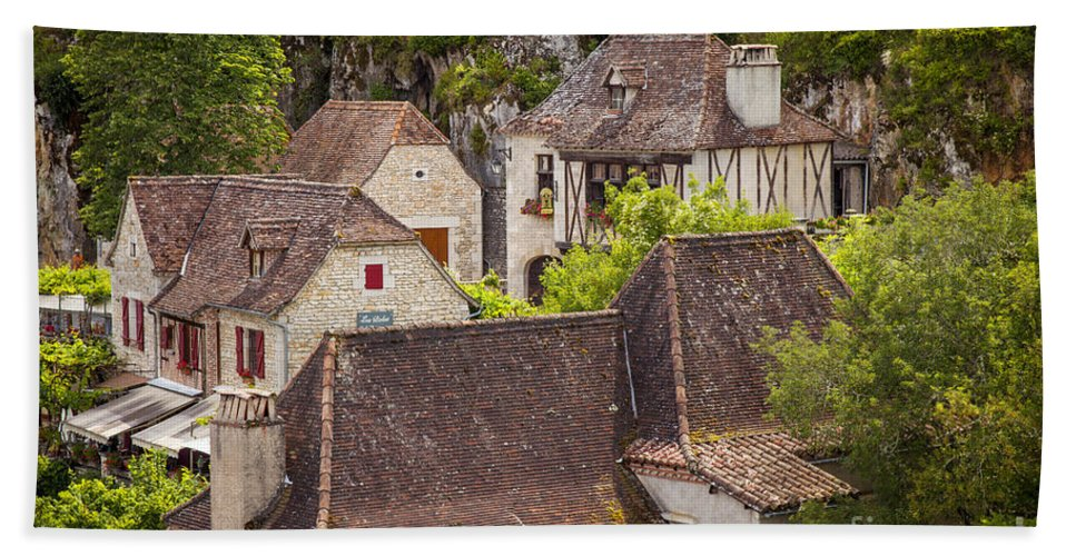 Buildings Hand Towel featuring the photograph Saint Cirq Rooftops by Brian Jannsen
