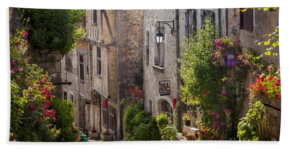 Buildings Hand Towel featuring the photograph Saint Cirq Street by Brian Jannsen