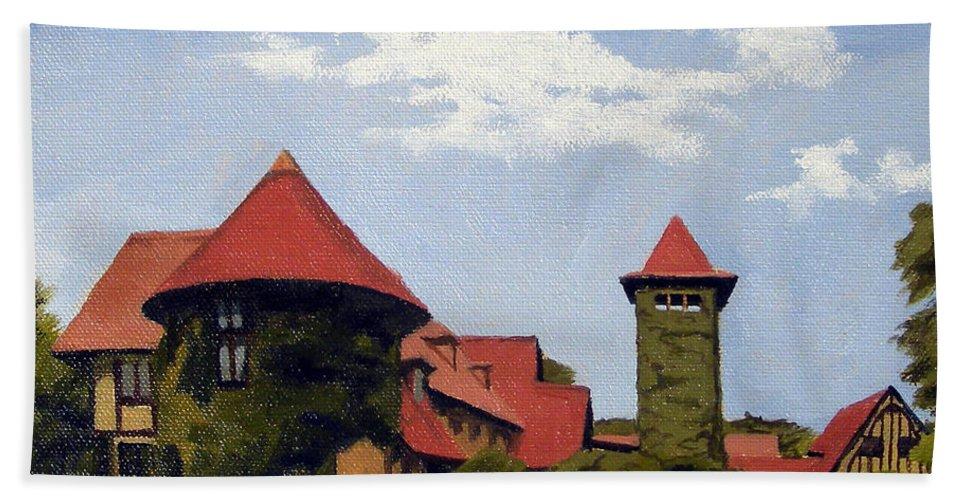 Christine Hopkins Hand Towel featuring the painting Saint Clements Castle Portland Connecticut by Christine Hopkins