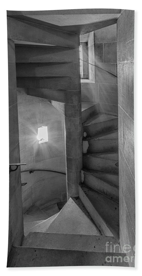 B+w Hand Towel featuring the photograph Saint John The Divine Spiral Stairs Bw by Jerry Fornarotto