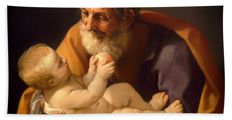 Painting Bath Sheet featuring the painting Saint Joseph And The Christ Child by Mountain Dreams