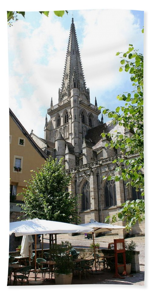 Autun Hand Towel featuring the photograph Saint Nazaire Cathedral Autun by Christiane Schulze Art And Photography