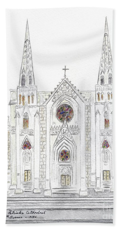 St. Patrick's Cathedral 5th Avenue New York Hand Towel featuring the painting Saint Patrick's Cathedral by AFineLyne
