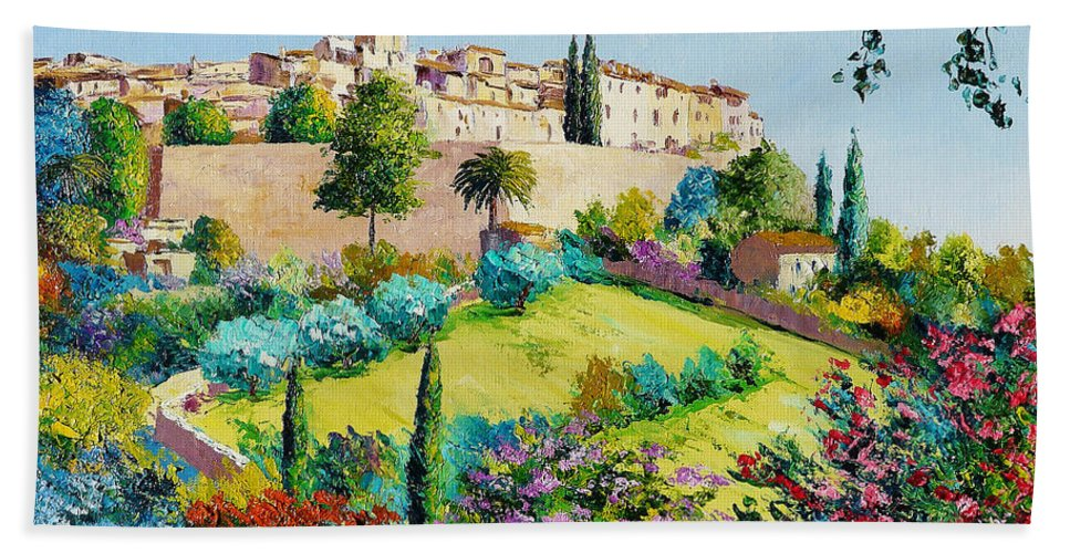 Jean-marc Janiaczyk Hand Towel featuring the digital art Saint Paul De Vence by Jean-Marc Janiaczyk