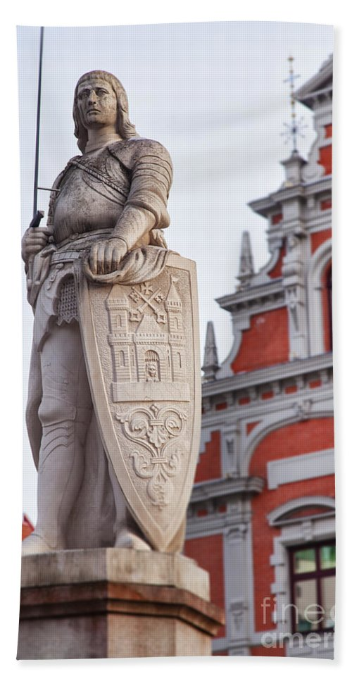 Saint Hand Towel featuring the photograph Saint Roland I Riga Old Town by Sophie McAulay