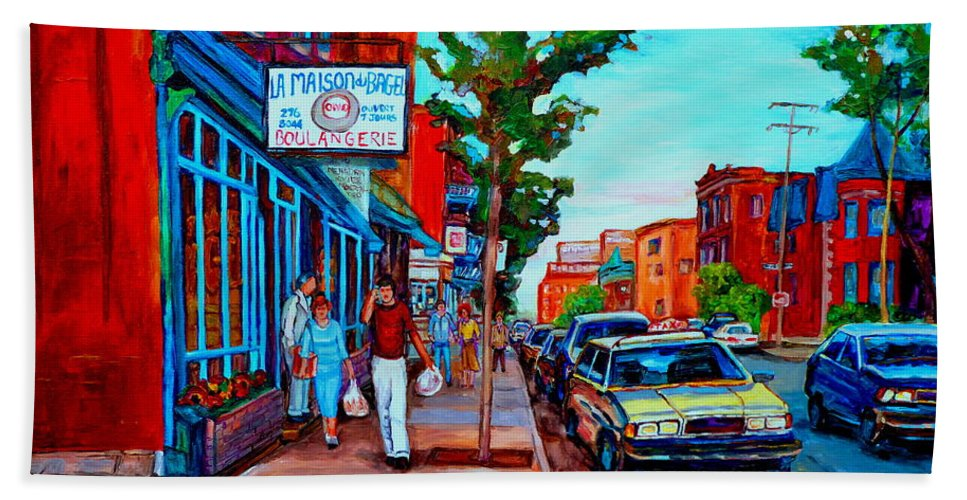 St.viateur Bagel Shop Bath Towel featuring the painting Saint Viateur Bagel Shop by Carole Spandau