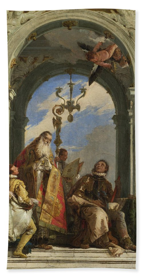 Giovanni Battista Tiepolo Hand Towel featuring the painting Saints Maximus And Oswald by Giovanni Battista Tiepolo