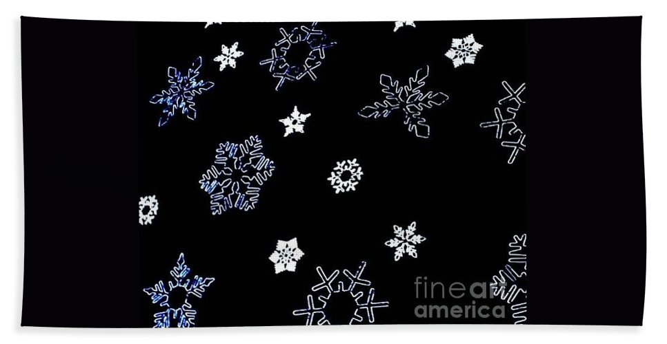 New York City Bath Sheet featuring the photograph Saks 5th Avenue Snowflakes by Living Color Photography Lorraine Lynch