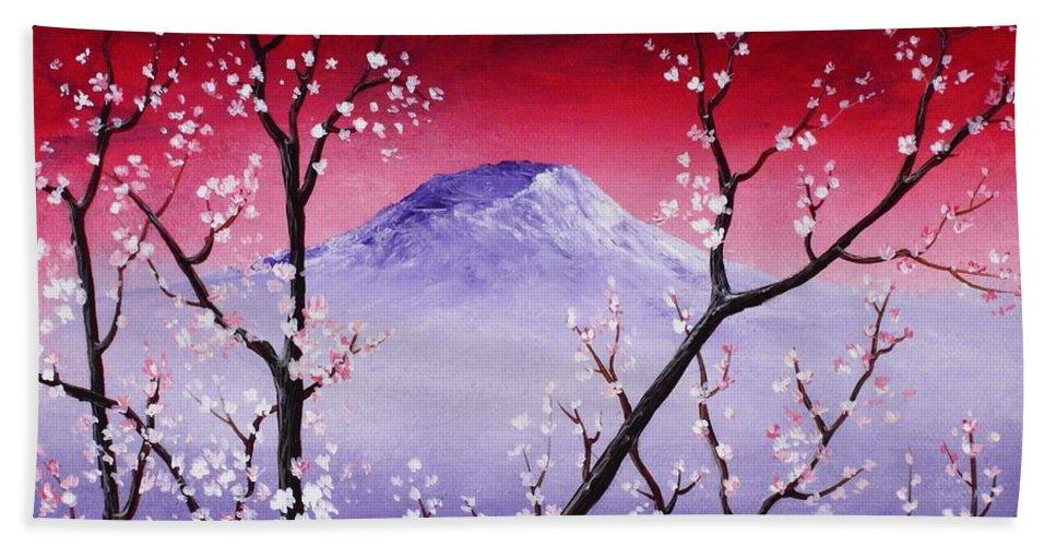 Malakhova Hand Towel featuring the painting Sakura by Anastasiya Malakhova