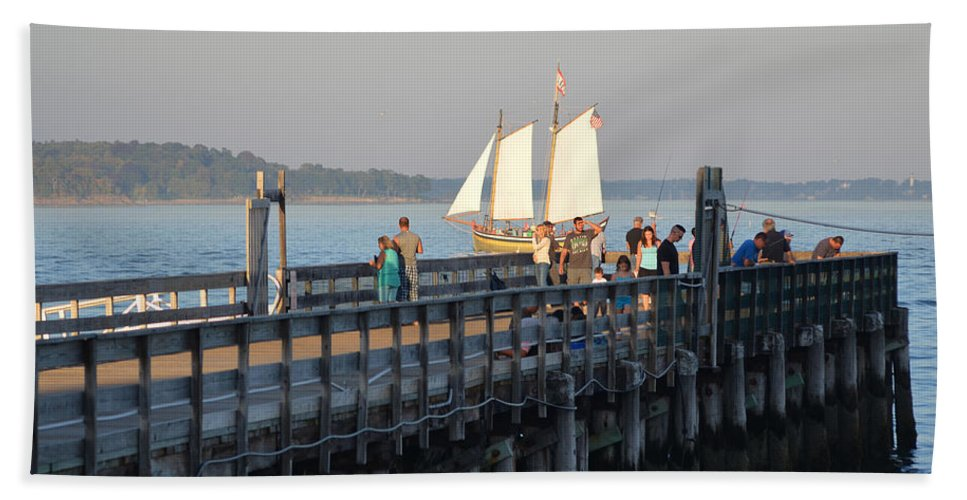 Salem Willows Bath Sheet featuring the photograph Salem Willows Sailboat by Toby McGuire