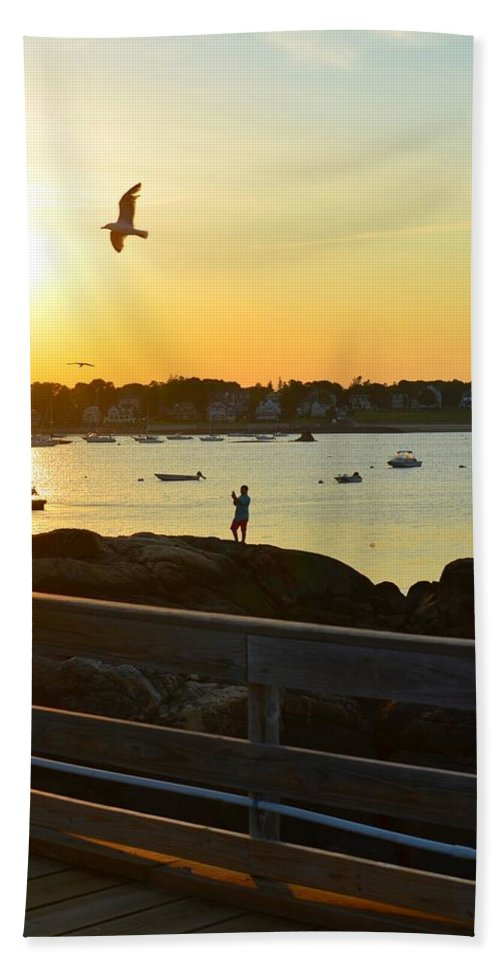 Salem Willows Hand Towel featuring the photograph Salem Willows Sunset by Toby McGuire