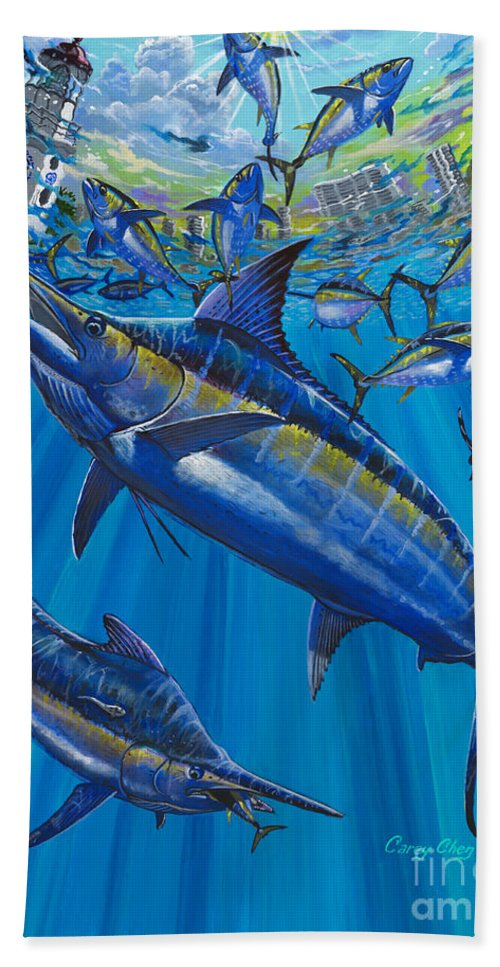 Marlin Bath Sheet featuring the painting Salinas Off006 by Carey Chen