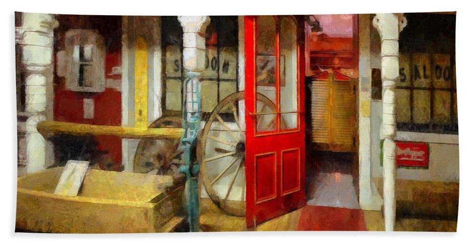 Saloon Hand Towel featuring the painting Saloon by L Wright