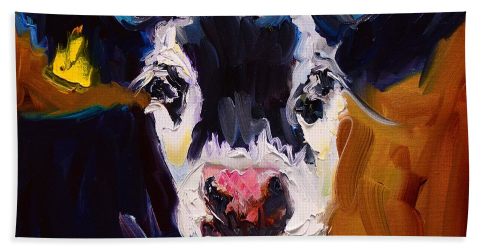 Cow Art Oil Painting Diane Whitehead Farm Animal Hand Towel featuring the painting Salt And Pepper Cow 2 by Diane Whitehead