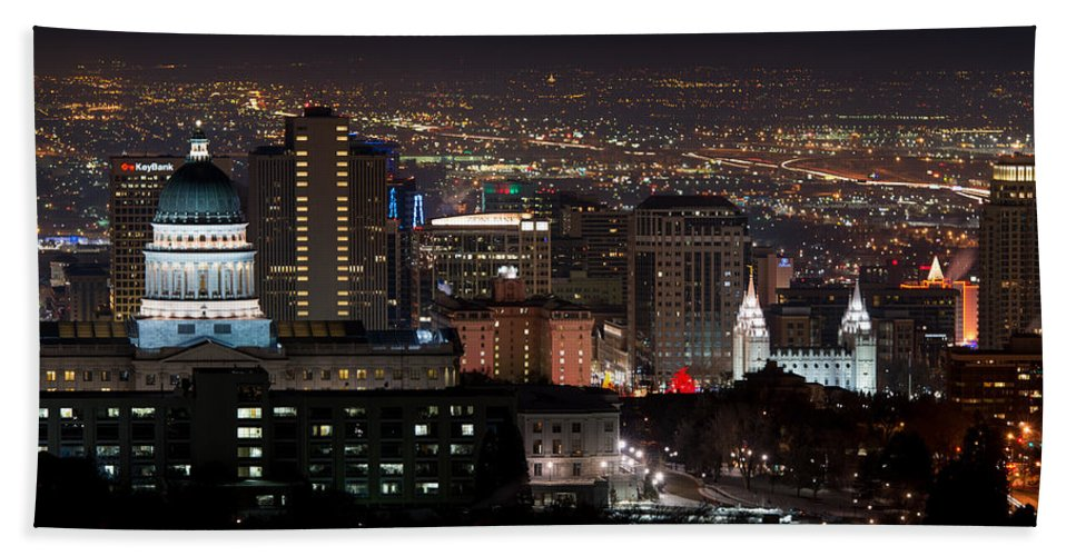 Salt Lake City Hand Towel featuring the photograph Salt Lake City Lights by Dustin LeFevre