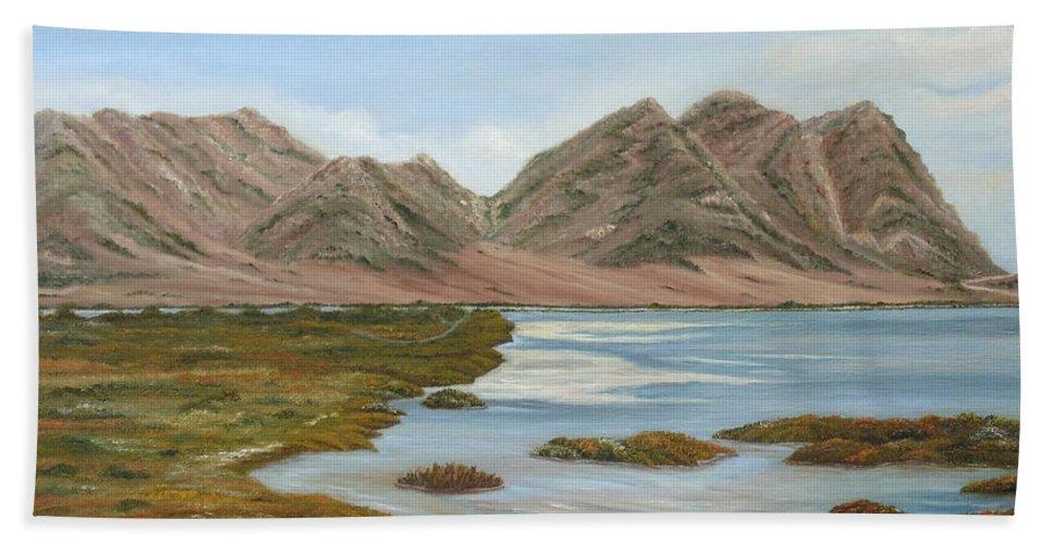 Marsh Bath Sheet featuring the painting Salt Marsh by Angeles M Pomata