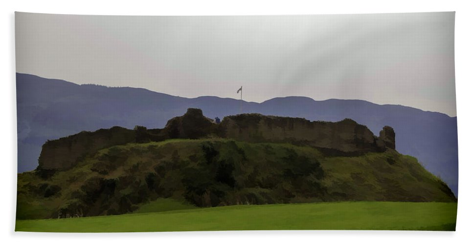 Blue Sky Bath Sheet featuring the digital art Saltire And The Ruins Of The Urquhart Castle In Scotland At A He by Ashish Agarwal