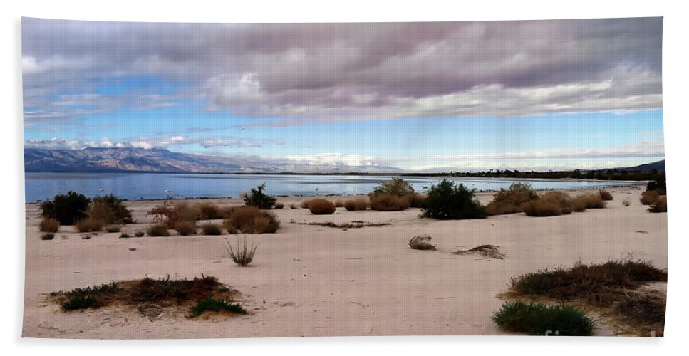 Desert Bath Sheet featuring the photograph Salton Sea California by Linda Dunn