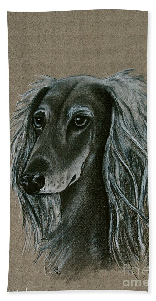 Hound Bath Sheet featuring the drawing Saluki by Susan Herber