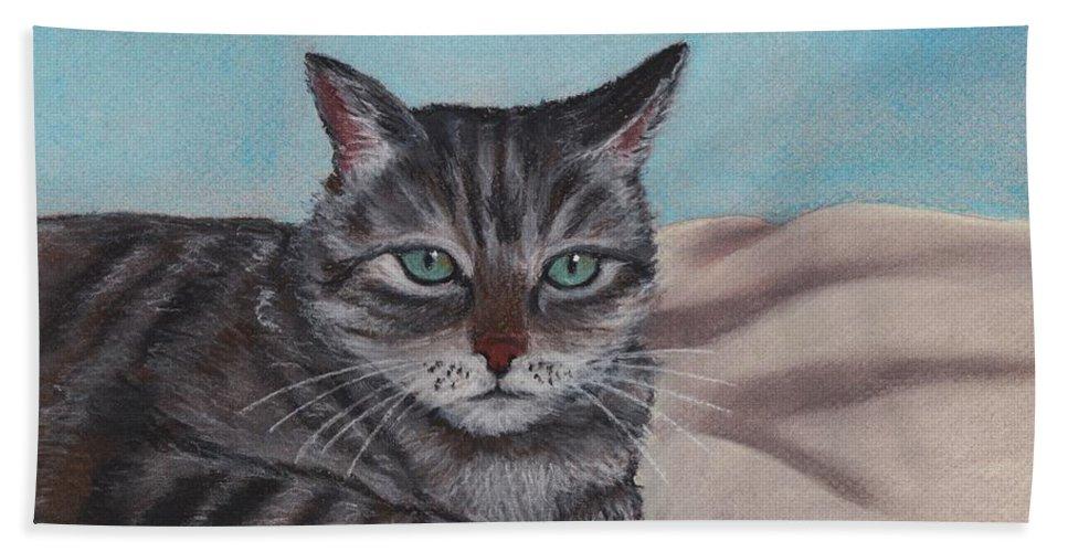 Cat Bath Sheet featuring the painting Sam by Anastasiya Malakhova
