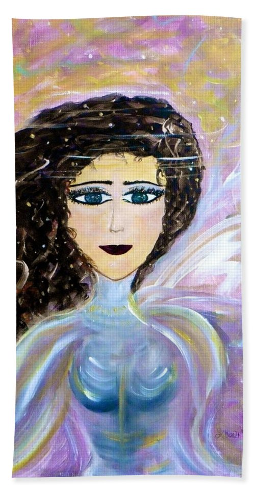 Whimsical Female Image Bath Sheet featuring the painting Sammie Says by Sara Credito