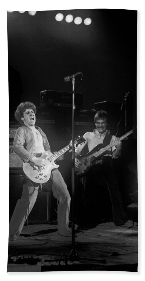 Sammy Hagar Bath Sheet featuring the photograph Sammy And Bill On Stage In Spokane In 1977 by Ben Upham