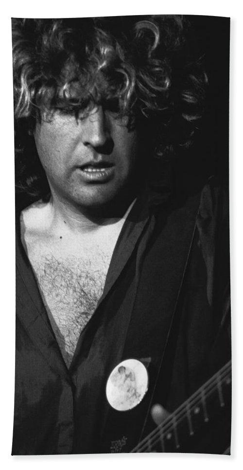 Sammy Hagar Bath Sheet featuring the photograph Rocking On His Guitar In 1978. by Ben Upham