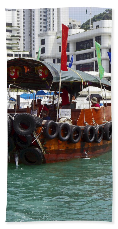 Sampan Ringed With Old Tires Hand Towel featuring the photograph Sampan by Sally Weigand
