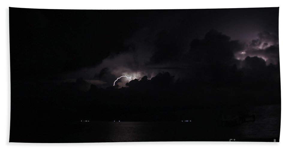 Panama Bath Sheet featuring the photograph San Blas Lightning Show by Bob Hislop