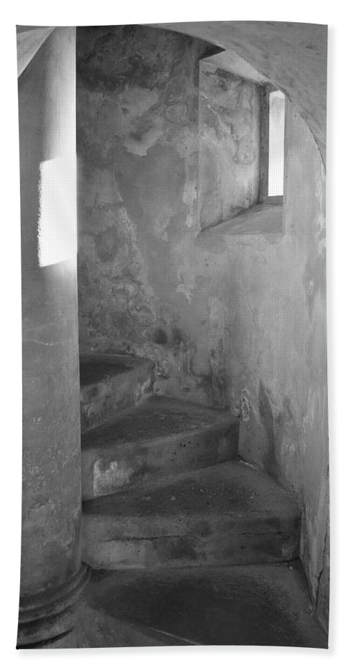 San Christobal Bath Sheet featuring the photograph San Christobal Staircase- Black And White by Shanna Hyatt